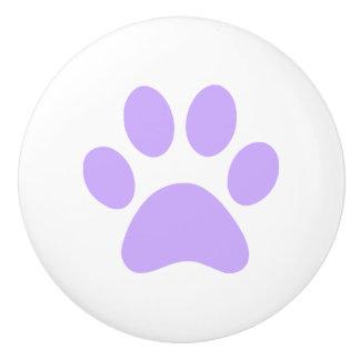 Lilac Purple Paw Print pawprint Ceramic Knob