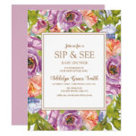 Lilac Purple Pink Floral Sip See Baby Shower Invitation (similar styles also available)