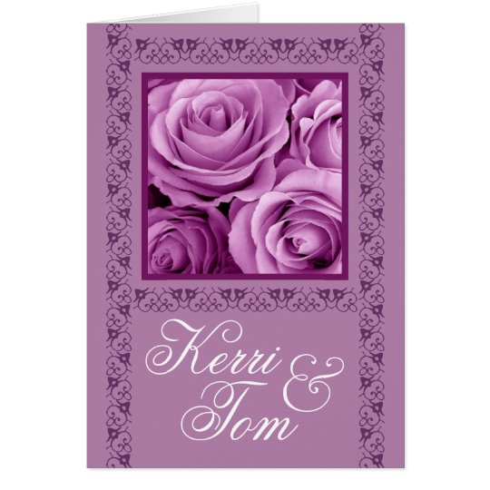 LILAC PURPLE Roses & Lace Wedding Invitation