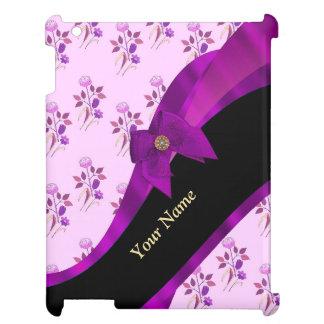 Lilac purple vintage floral flower pattern iPad case
