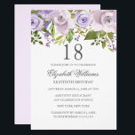 """Lilac Purple Watercolor Floral 18th Birthday Invitation<br><div class=""""desc"""">More Elegant Floral Invitations in the Little Bayleigh Store!</div>"""