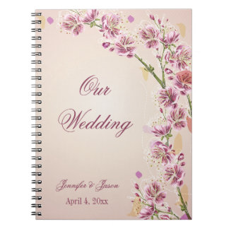 Lilac purple watercolor flowers wedding planner spiral notebooks