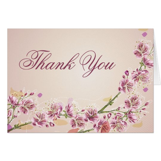 Lilac purple watercolor flowers wedding thank you card