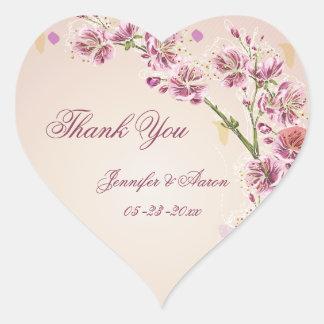 Lilac purple watercolor flowers wedding thank you heart sticker