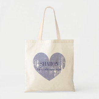 Lilac purple weathered heart bridesmaid tote bags
