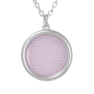 Lilac Purple Weave Mesh Look Round Pendant Necklace