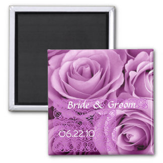 LILAC PURPLE Wedding Rose Bouquet with Lace 2 Inch Square Magnet