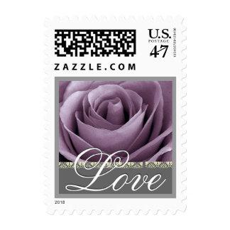 LILAC PURPLE  Wedding Rose LOVE Stamp - Small
