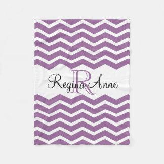 Lilac Purple/White Monogram Name Keepsake Chevron Fleece Blanket