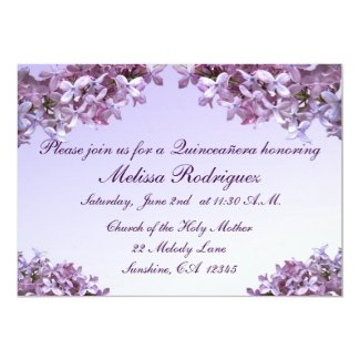 Lilac Quinceanera Card