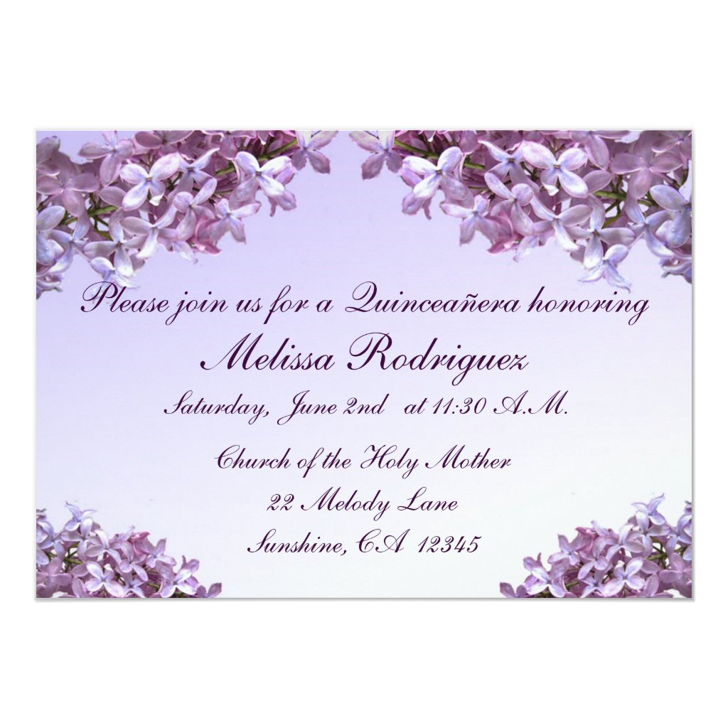 Lilac Quinceanera Invitation