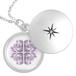 Lilac Rose Abstract Silver Plated Necklace