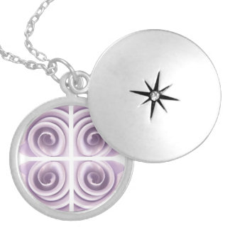 Lilac Rose Abstract Swirls Round Locket Necklace