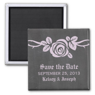 Lilac Rose Chalkboard Save the Date Magnet