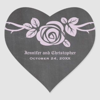 Lilac Rose Chalkboard Wedding Stickers