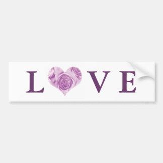 Lilac Rose Heart Love Bumper Sticker Car Bumper Sticker