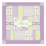 Lilac Rose Quilt Card Square Custom Announcements