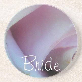 Lilac Rose Wedding Sandstone Coaster