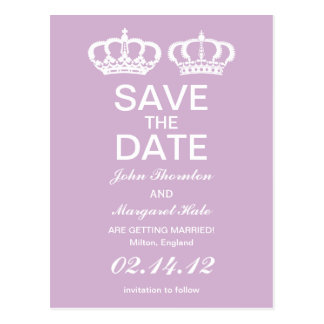 Lilac Royal Couple Save the Date Postcard