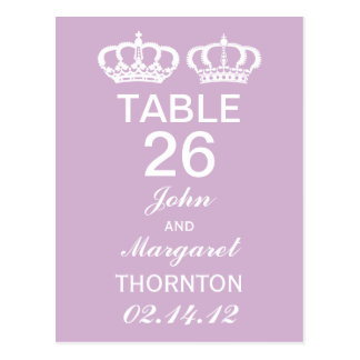 Lilac Royal Couple Table Numbers Postcard