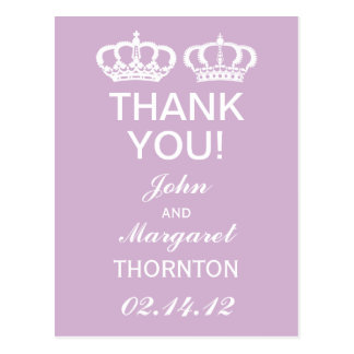 Lilac Royal Couple Thank You Postcard