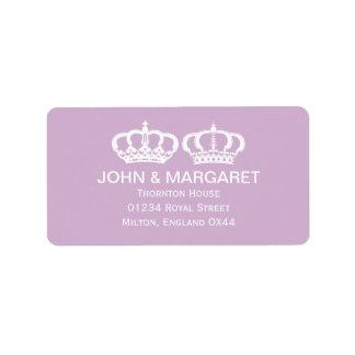 Lilac Royal Couple Wedding Personalized Address Label
