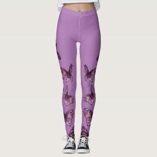 Lilac Royal Vintage Butterflies Leggings