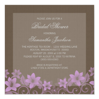 Lilac Rustic Floral Bridal Shower Invite