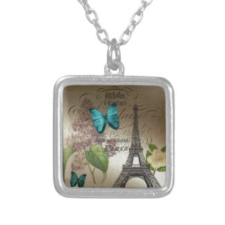 lilac scripts modern vintage paris eiffel tower silver plated necklace