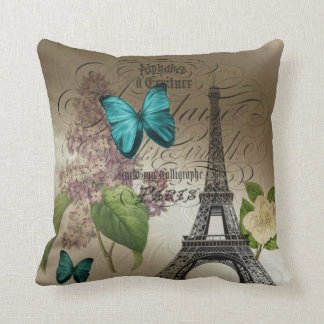 lilac scripts modern vintage paris eiffel tower throw pillow