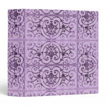 Lilac scrollwork pattern 3 ring binder