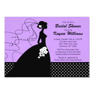 Lilac Silhouette Bride Bridal Shower Invite
