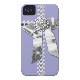 Lilac Silver Bow Pearl Jewel Printed iPhone 4 Case