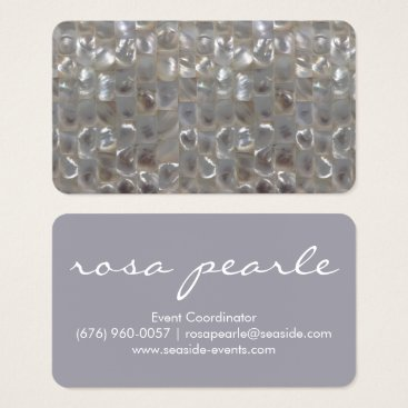 Beach Themed Lilac & Silver Pearl Business Card