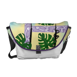 Lilac Snakeskin Tropical Leaves Courier Bag