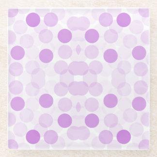 Lilac Spots on White Pattern Glass Coaster