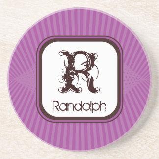 Lilac Spring Rays Monogram Coaster