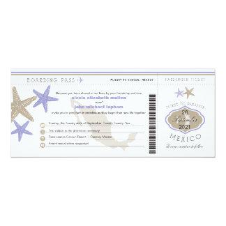 Lilac Starfish Mexico Boarding Pass Wedding Card