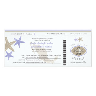 Lilac Starfish Mexico Boarding Pass Wedding Card