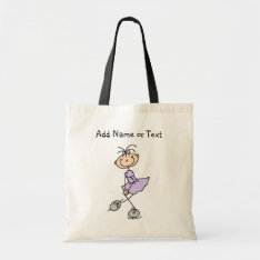 Lilac Stick Figure Girl Ice Skater Customized Bag at Zazzle