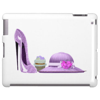 Lilac stiletto, cupcake and hat iPad case