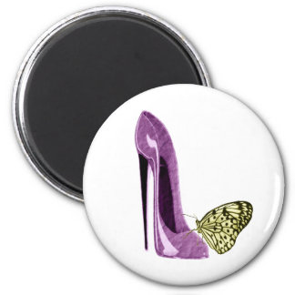 Lilac Stiletto Shoe and Butterfly Gifts 2 Inch Round Magnet