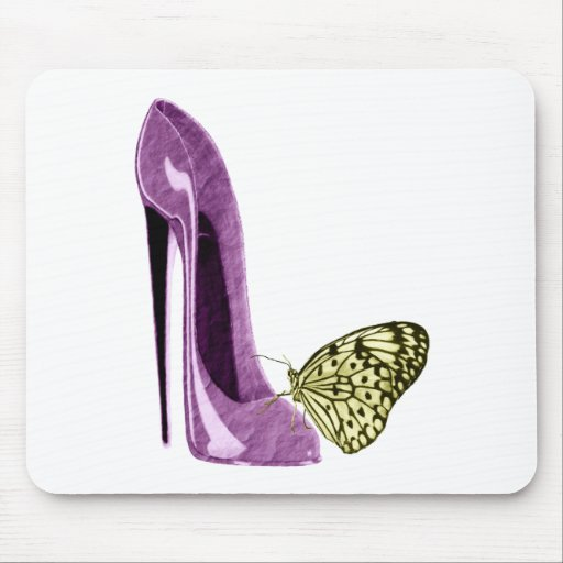 Lilac Stiletto Shoe and Butterfly Gifts Mouse Pad