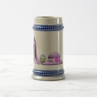 Lilac Stiletto Shoe, Cupcake and Hat Art Beer Stein
