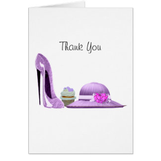 Lilac Stiletto Shoe, Cupcake and Hat Art Card