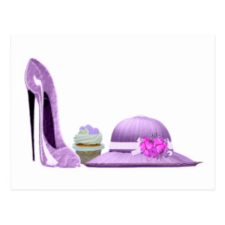 Lilac Stiletto Shoe, Cupcake and Hat Art Postcard