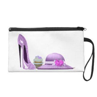 Lilac Stiletto Shoe, Cupcake and Hat Art Wristlet Purse
