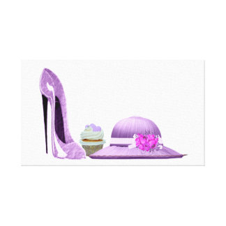 Lilac stiletto shoe, cupcake and hat canvas art