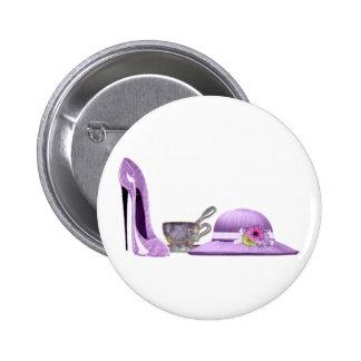 Lilac Stiletto Shoe, Hat and Teacup Art Button