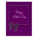 Lilac Stipes and Bow Mother's Day Design Post Card